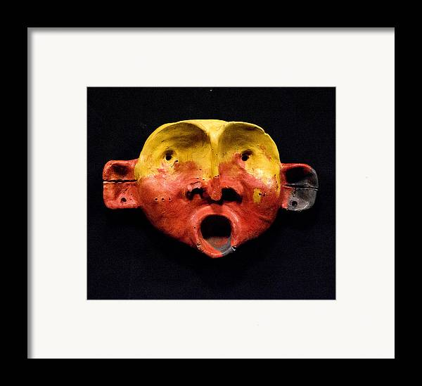 Wall Sculpture Framed Print featuring the sculpture Nico Yellow And Red Mask by Mark M Mellon