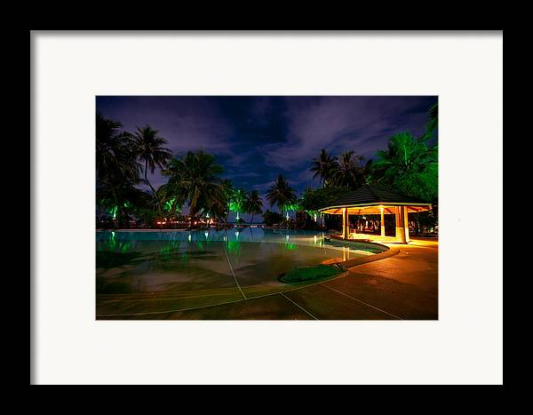 Tropical Framed Print featuring the photograph Night At Tropical Resort 1 by Jenny Rainbow