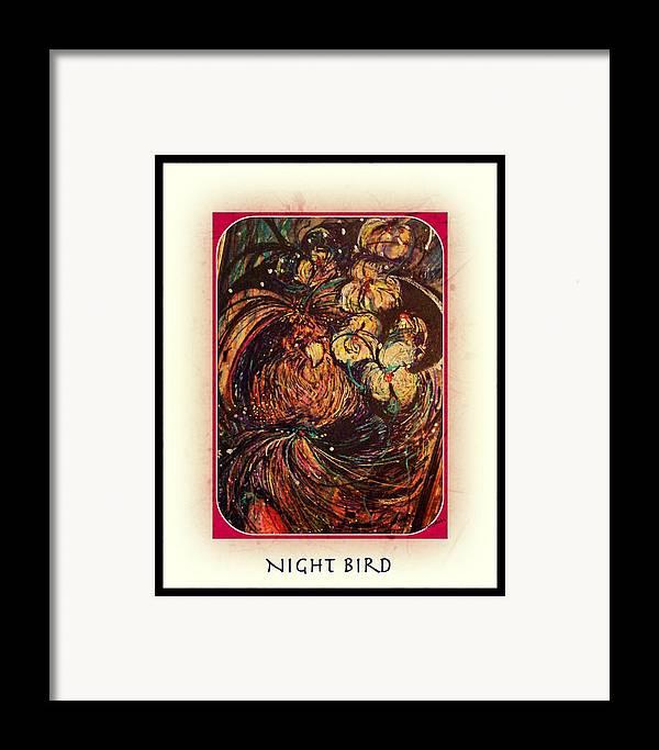 Bird Framed Print featuring the mixed media Night Bird by YoMamaBird Rhonda