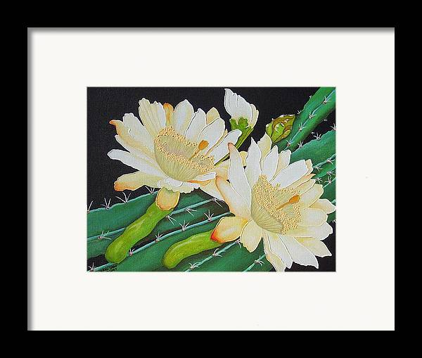 Acrylic Framed Print featuring the painting Night Blooming Cacti by Carol Sabo