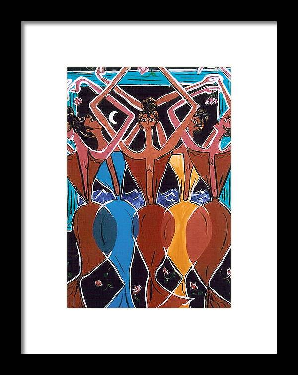 Naïve Framed Print featuring the painting Night Dancers by Lorena Fernandez