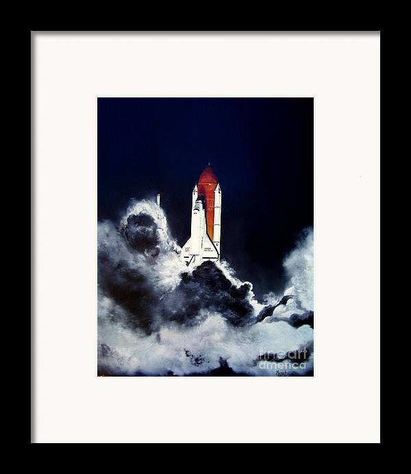 Oil Framed Print featuring the painting Night Launch by Murphy Elliott