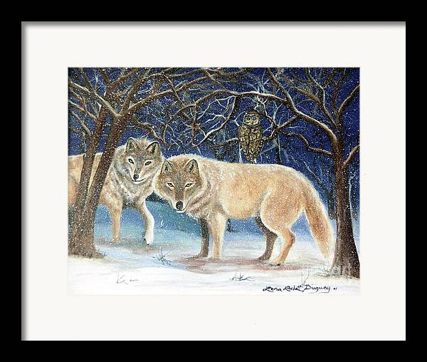 Wolves Framed Print featuring the painting Night Life In The Forest by Lora Duguay