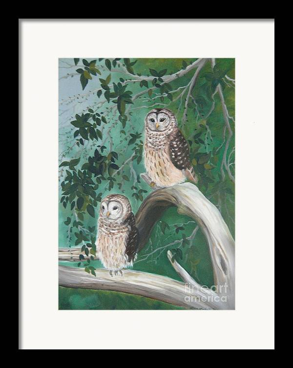 Owls Framed Print featuring the painting Night Owls by Lora Duguay