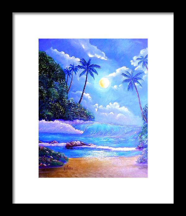 Marina Framed Print featuring the painting Night Scene by Adolfo Flores