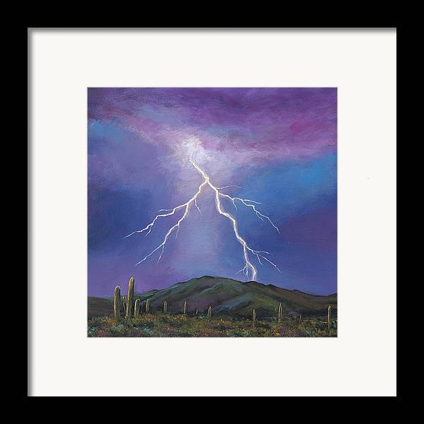 Lightning Framed Print featuring the painting Night Strike by Johnathan Harris