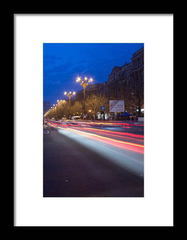 Framed Print featuring the photograph Night Traffic by Ciprian Gorongia