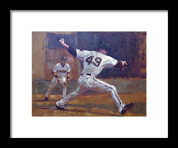 Javier Lopez Framed Print featuring the painting Night Train by Darren Kerr