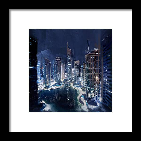 Night view of jlt dubai framed print by corporate art task force jumerah lake towers framed print featuring the painting night view of jlt dubai by corporate art reheart Choice Image