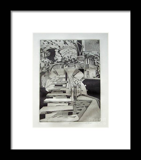 Etching Framed Print featuring the drawing Nightdream by Linda Frank