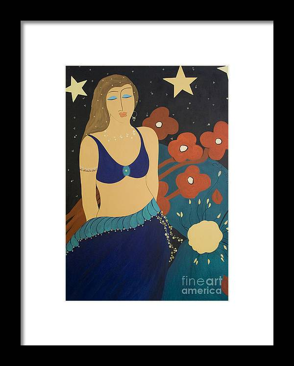 #stars Framed Print featuring the painting Nightfall by Jacquelinemari