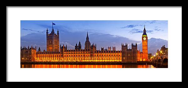 British Framed Print featuring the photograph Nightly View London Houses Of Parliament by Melanie Viola