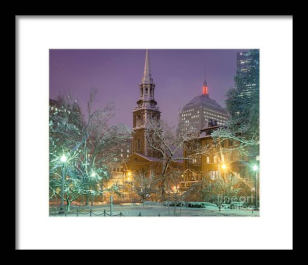 Back Bay Framed Print featuring the photograph Nighttime Snowstorm In Boston by Susan Cole Kelly