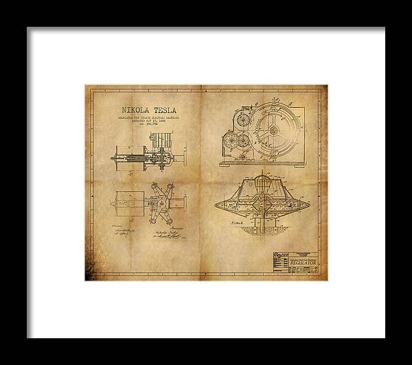 Steampunk Framed Print featuring the painting Nikola Telsa's work by James Christopher Hill