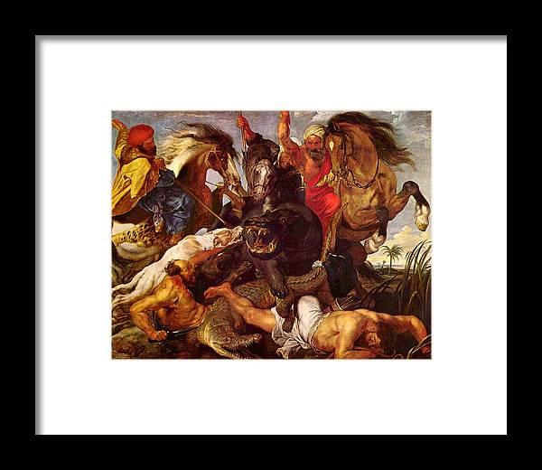 Peter Paul Rubens Framed Print featuring the digital art Nilpferdjagd by Peter Paul Rubens