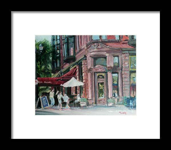 Nina's Cafe Framed Print featuring the painting Ninas by Laura Toth