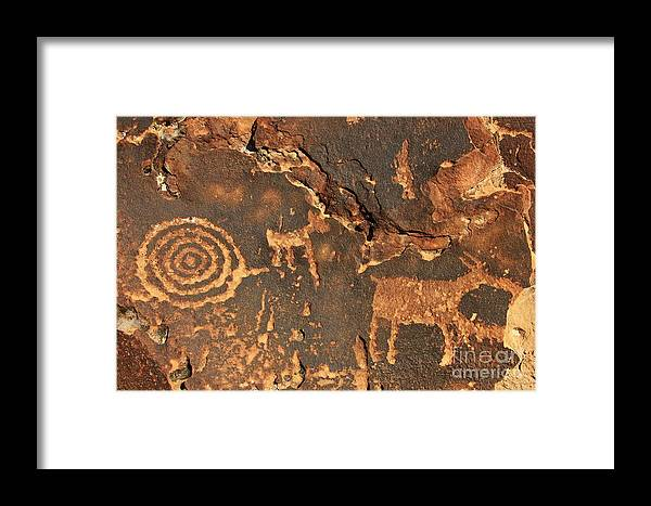 Hieroglyphs Framed Print featuring the photograph Nine Mile Canyon 2 by Roxie Crouch
