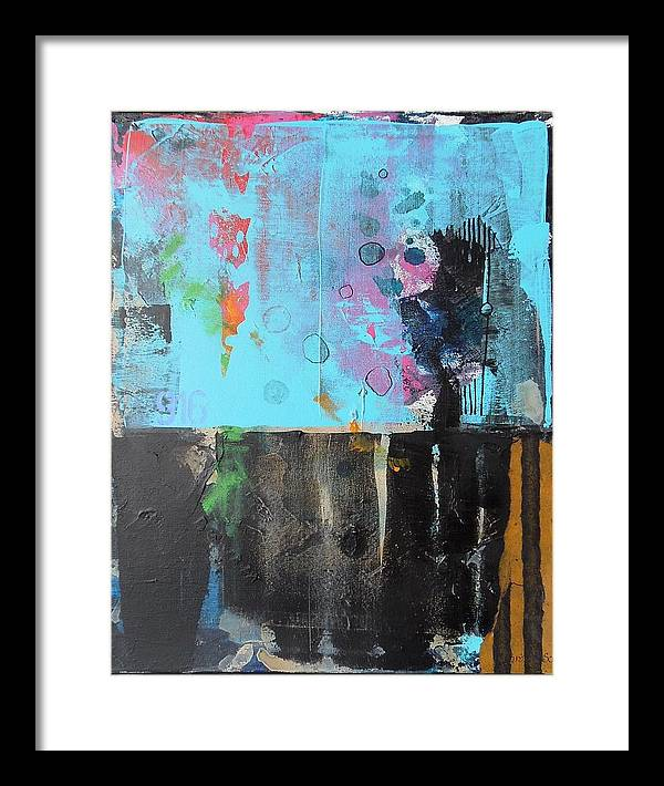 Abstract Mixed Media Collage On Canvas Framed Print featuring the mixed media Nine One Six by Jo Ann Brown-Scott