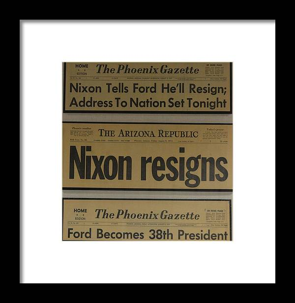 President Framed Print featuring the photograph Nixon Resigns by Richard Jenkins