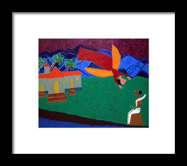 The Annunciation Framed Print featuring the painting No. 395 by Vijayan Kannampilly