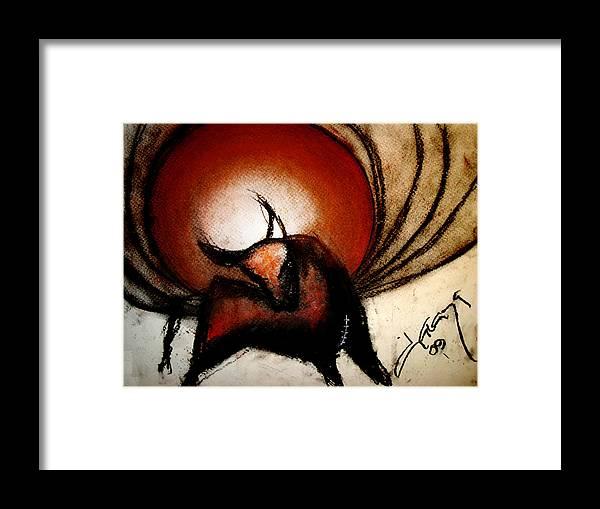 Charcoal Framed Print featuring the painting No Bullfights by Dianaya Anaya