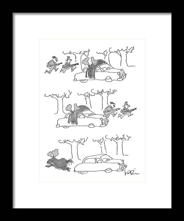 (series(3). Moose Lies On Car Roof. Hunters Rush Into Woods. Moose Runs Away.)animals Framed Print featuring the drawing No Caption by Arnie Levin