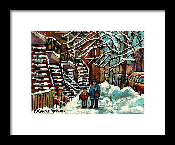 Montreal Framed Print featuring the painting No School Today Out For A Snowy Walk Verdun Winter Winding Staircases Montreal Paintings C Spandau by Carole Spandau