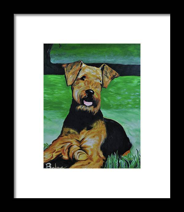 Airedale Art Framed Print featuring the painting No Worries by Ruben Barbosa