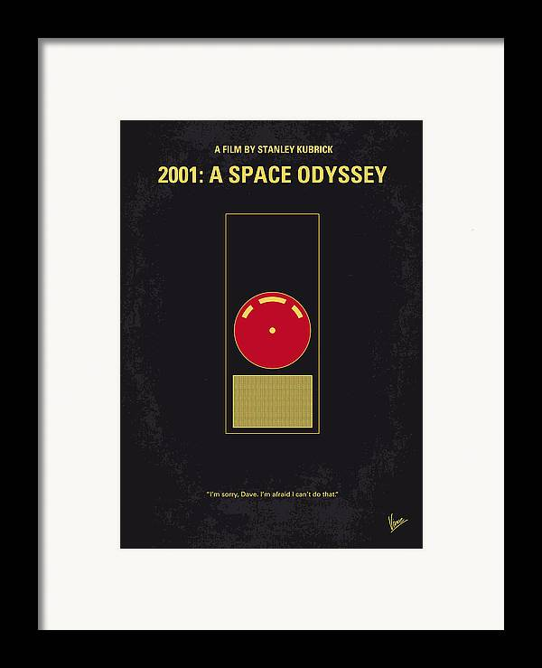 2001: A Space Odyssey Framed Print featuring the digital art No003 My 2001 A Space Odyssey 2000 Minimal Movie Poster by Chungkong Art