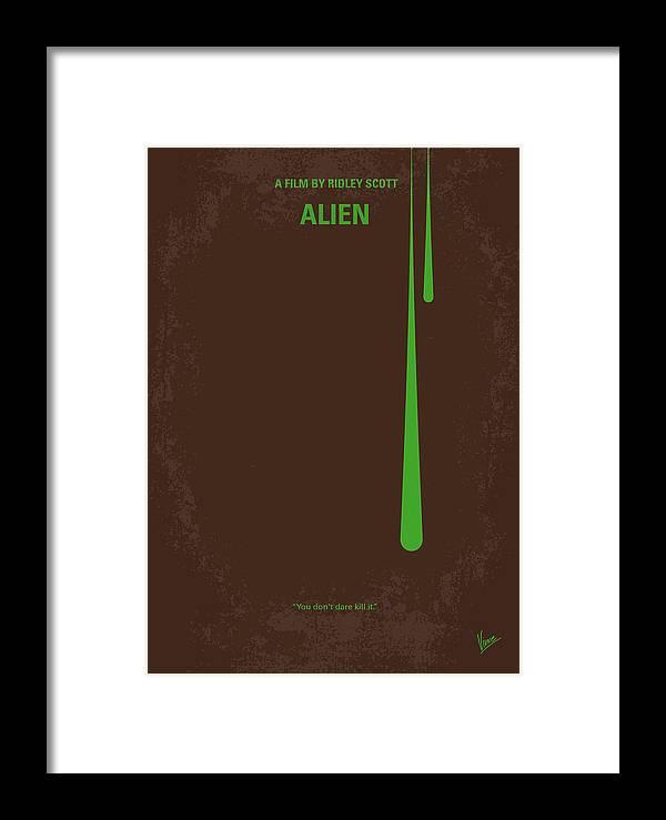 Alien Framed Print featuring the digital art No004 My Alien Minimal Movie Poster by Chungkong Art