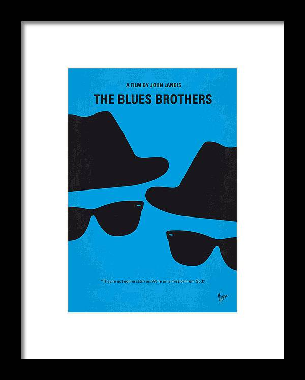 Blues Framed Print featuring the digital art No012 My blues brother minimal movie poster by Chungkong Art