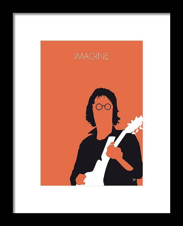 John Framed Print featuring the digital art No013 My John Lennon Minimal Music Poster by Chungkong Art
