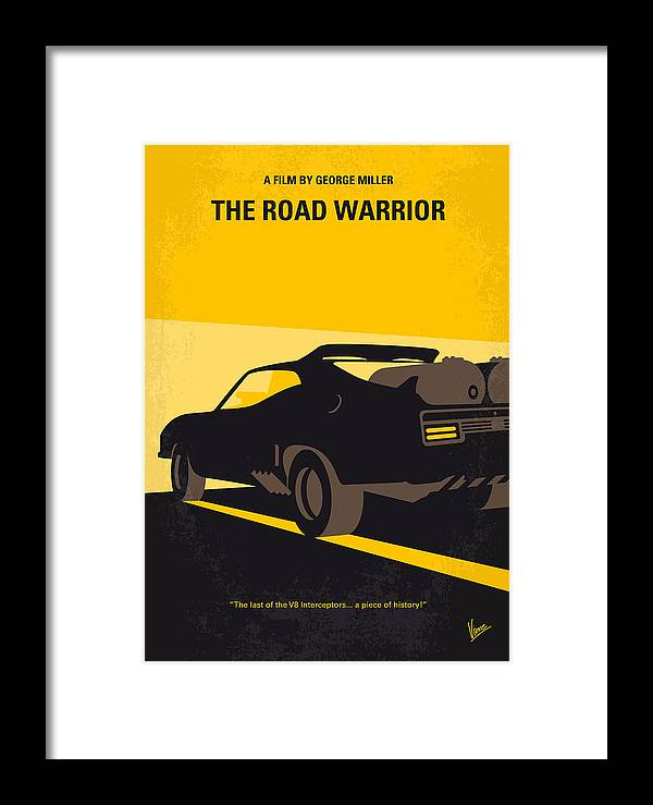 Road Warrior Framed Print featuring the digital art No051 My Mad Max 2 Road Warrior Minimal Movie Poster by Chungkong Art