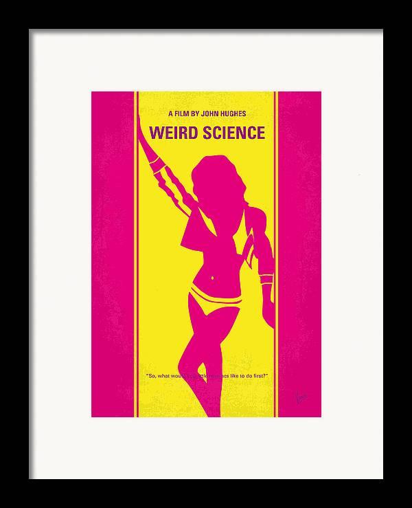 Weird Framed Print featuring the digital art No106 My Weird Science Minimal Movie Poster by Chungkong Art