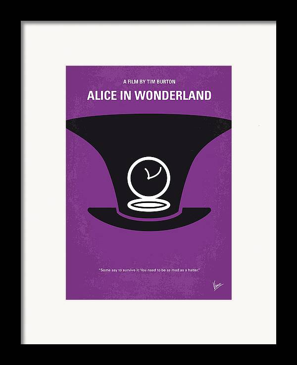 Alice Framed Print featuring the digital art No140 My Alice In Wonderland Minimal Movie Poster by Chungkong Art