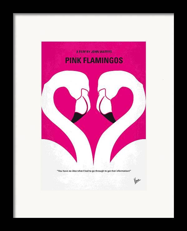 Pink Framed Print featuring the digital art No142 My Pink Flamingos Minimal Movie Poster by Chungkong Art