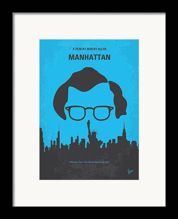 Manhattan Framed Print featuring the digital art No146 My Manhattan Minimal Movie Poster by Chungkong Art