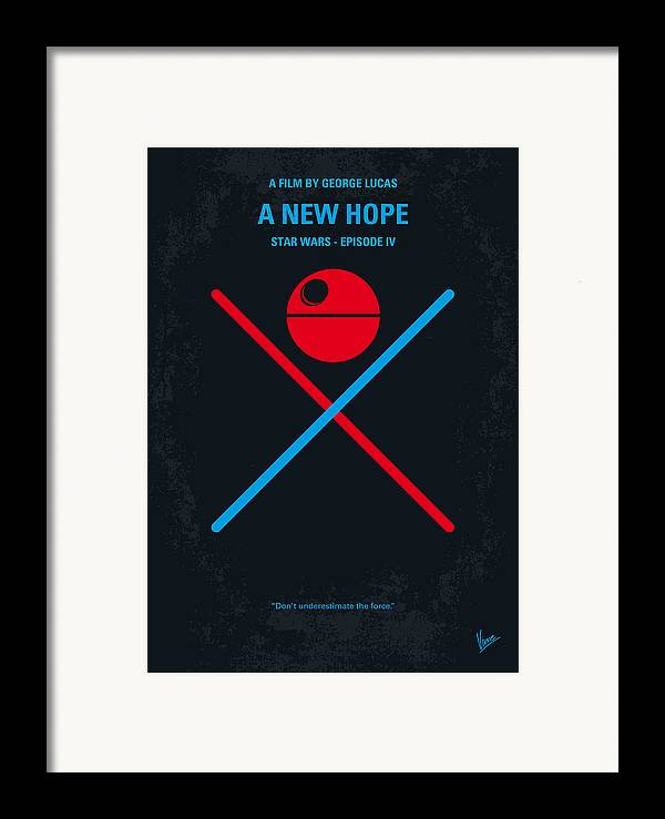 Star Framed Print featuring the digital art No154 My Star Wars Episode Iv A New Hope Minimal Movie Poster by Chungkong Art