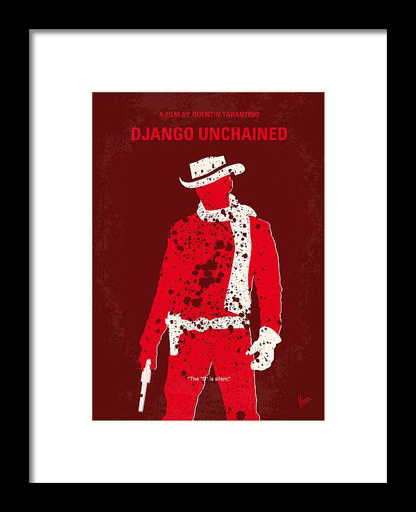 Django Framed Print featuring the digital art No184 My Django Unchained Minimal Movie Poster by Chungkong Art