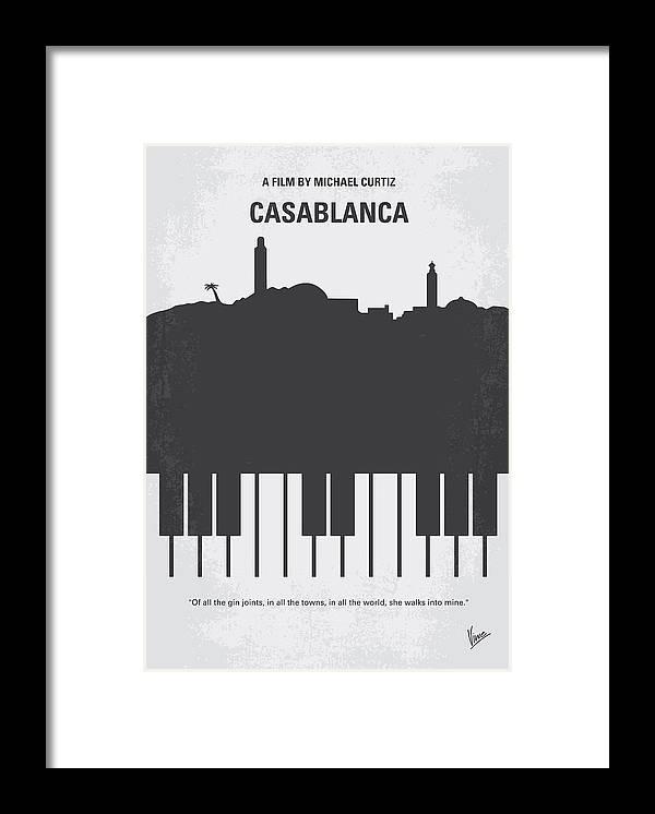 Casablanca Framed Print featuring the digital art No192 My Casablanca minimal movie poster by Chungkong Art
