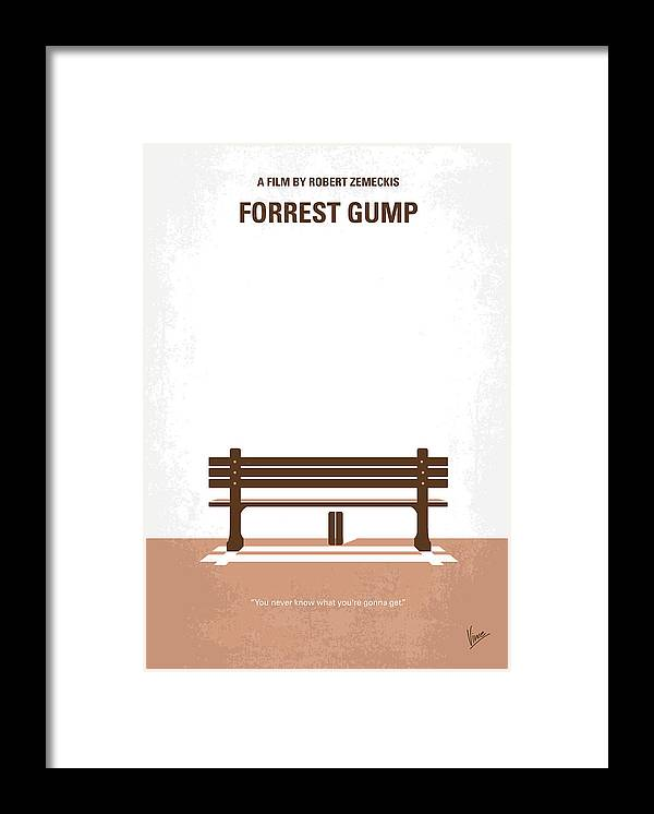 Forrest Framed Print featuring the digital art No193 My Forrest Gump minimal movie poster by Chungkong Art