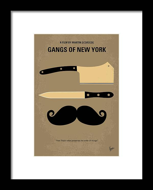 Gangs Framed Print featuring the digital art No195 My Gangs of New York minimal movie poster by Chungkong Art