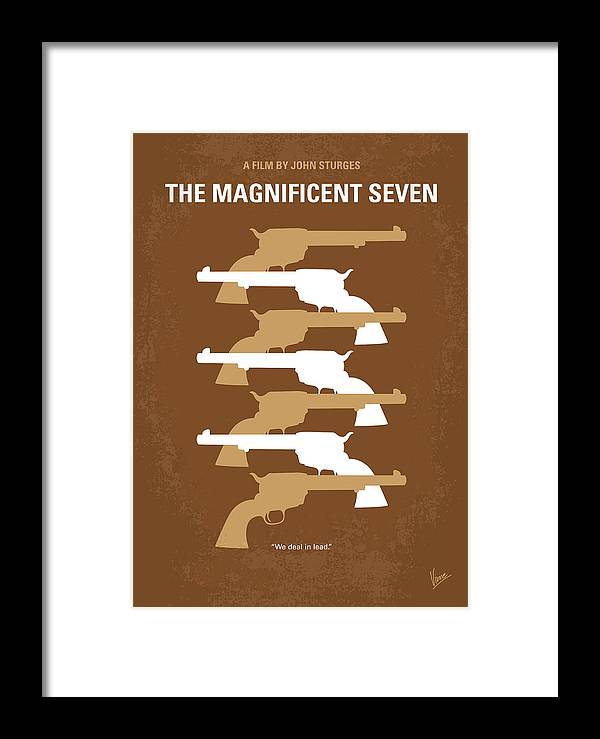 Magnificent Framed Print featuring the digital art No197 My The Magnificent Seven Minimal Movie Poster by Chungkong Art