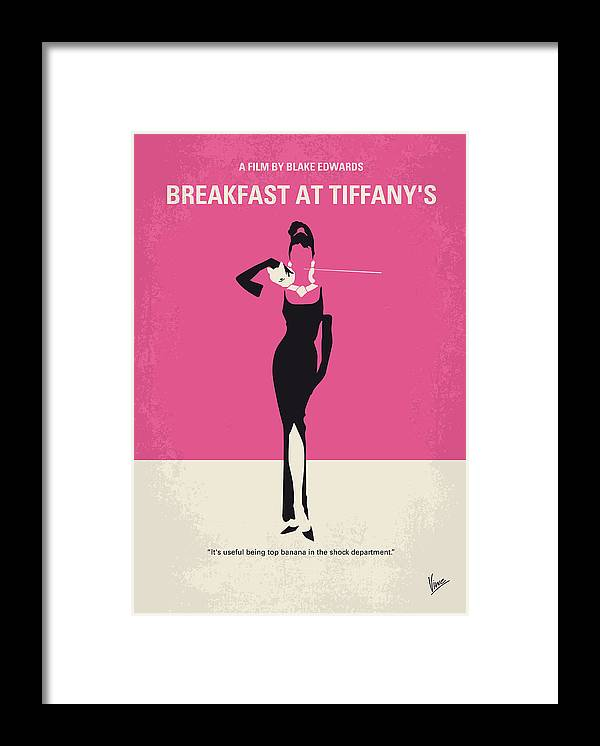 Breakfast Framed Print featuring the digital art No204 My Breakfast at Tiffanys minimal movie poster by Chungkong Art