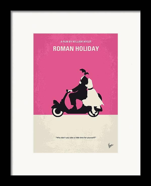 Roman Framed Print featuring the digital art No205 My Roman Holiday Minimal Movie Poster by Chungkong Art