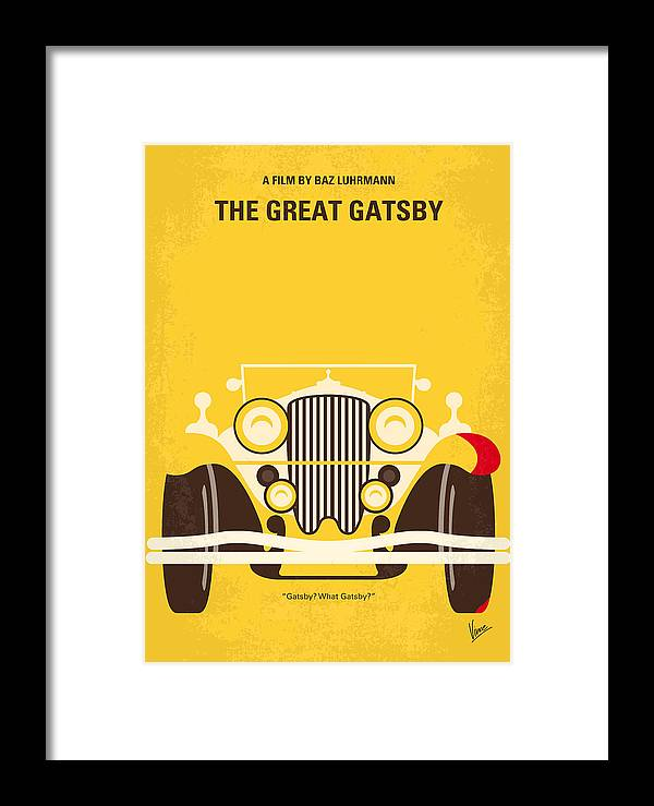 The Framed Print featuring the digital art No206 My The Great Gatsby Minimal Movie Poster by Chungkong Art