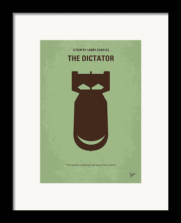 The Framed Print featuring the digital art No212 My The Dictator Minimal Movie Poster by Chungkong Art