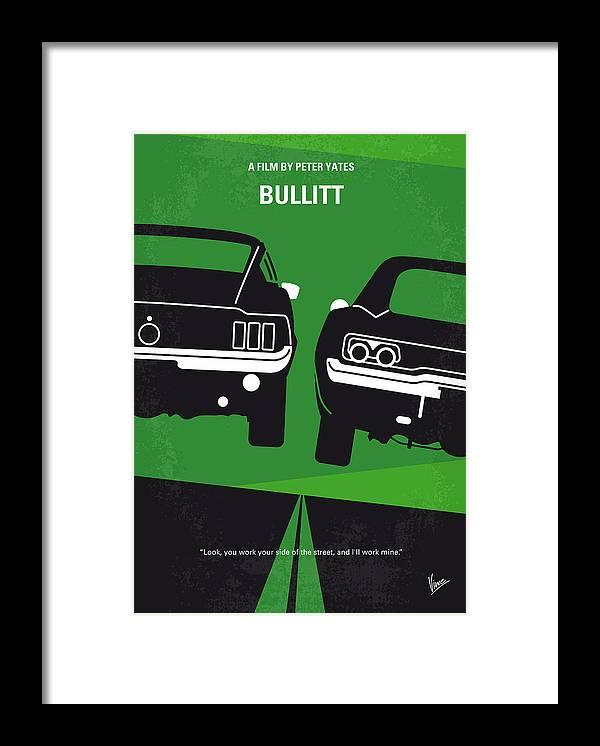 Frank Framed Print featuring the digital art No214 My BULLITT minimal movie poster by Chungkong Art