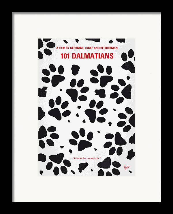 101 Framed Print featuring the digital art No229 My 101 Dalmatians Minimal Movie Poster by Chungkong Art