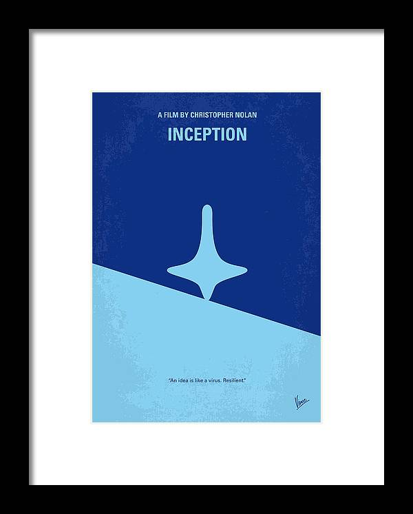 Inception Framed Print featuring the digital art No240 My Inception minimal movie poster by Chungkong Art